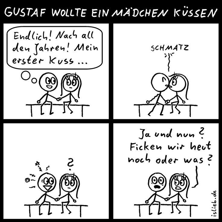 Der erste Kuss | http://islieb.de = Strichmännchen-Comics & Cartoons | Webcomic, küssen, Humor, #islieb