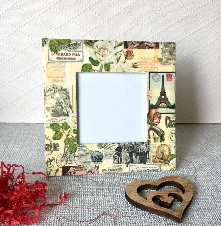 Excited to share the latest addition to my #etsy shop: Vintage photo frame - decoupage photo frame - parisian photo frame square photo frame - sister's gift -unique gift #housewares #homedecor #housewarming #office #sistersgift #parisianframe