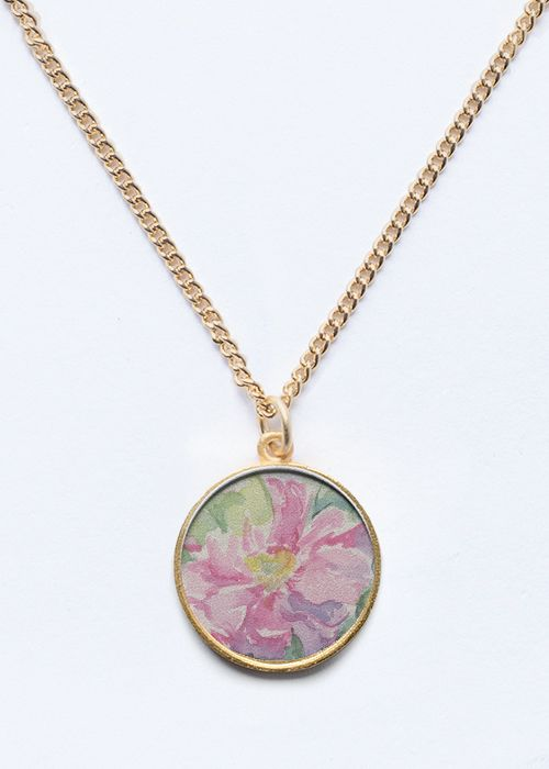 Pink Rose flower. Floral Gold / Silver   pendant #jewelry #gold #silver #floral