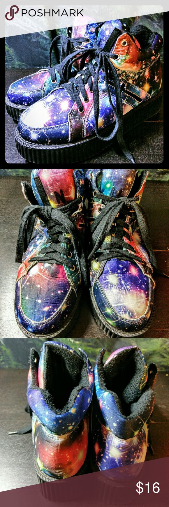 🏙🏙Galaxy Creeper Sneakers🏙🏙 These shoes have a bit of everything, including thick fuzzy foam lining and subtle crosses on the sides. Creepers and sneakers in one! Very lightweight shoes, so easier to walk in than your typical creepers! This is a reposh, only worn a handful of times by both owners...Seems we can't get the size right! They fit me loose (I'm 7.5) but okay, mostly just trying to clear out my closet. They are China size 40, feels like an 8 fits best. Shoes Sneakers