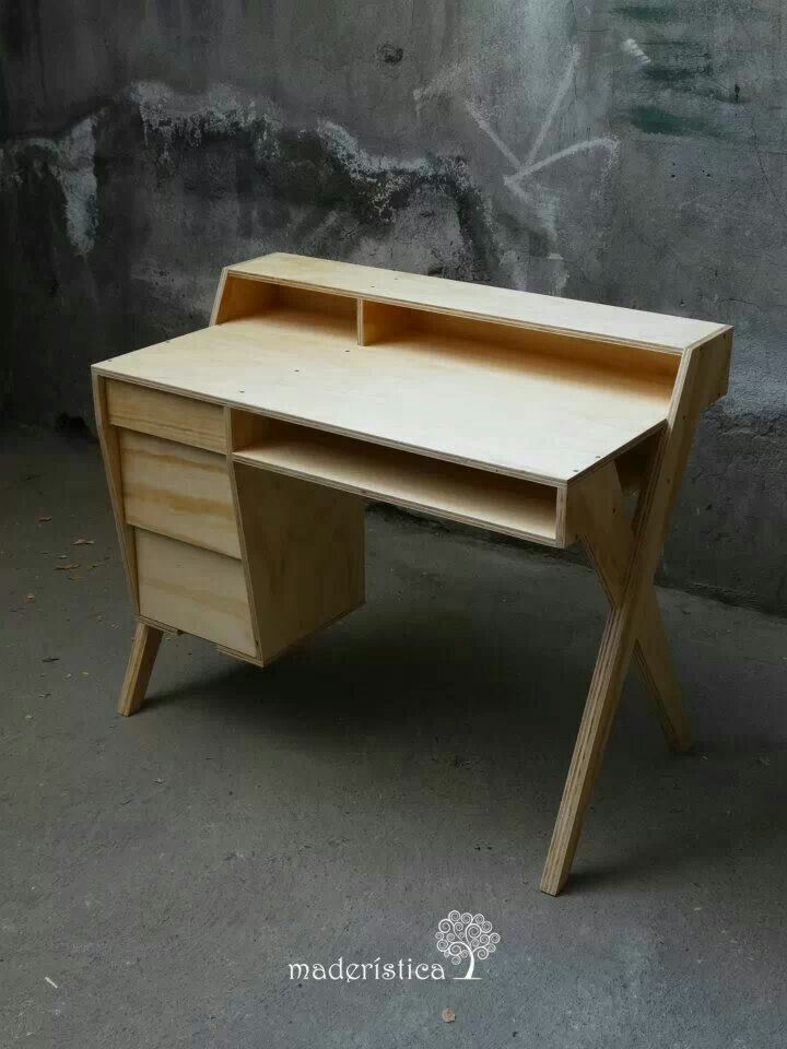 """Desk made out of what looks like 3/4"""" plywood."""