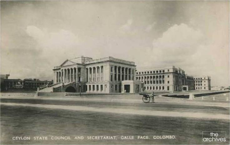 Ceylon State Council & Secretariat in Galle Face, Colombo, Ceylon in 1931. The Neo-Baroque-style building now called the 'Old Parliament Building' was built during the British colonial era to house the Legislative Council of Ceylon was built on an idea of Sir Henry McCallum. It was opened on January 29, 1930 by Governor Sir Herbert Stanley & a year later it was taken over by the State Council of Ceylon with its establishment.