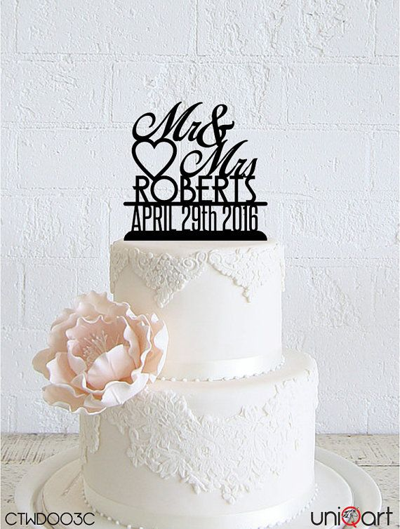 Mr & Mrs Personalized Wedding Cake Topper, Customizable Lastname, Date, Removable Stakes, Free Base for After Event, Gift, Keepsake CTWD003C