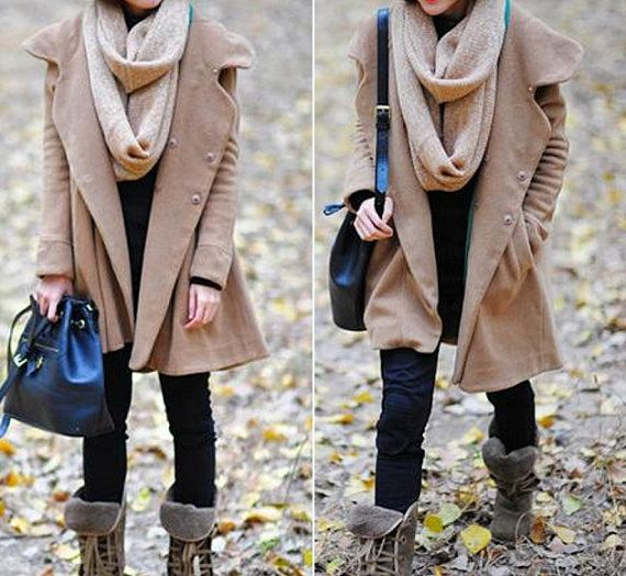 Camel Hoodie Wool cape winter coat by MaLieb on Etsy, $109.00 Christmas Please :)