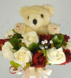 Bridesmaids Red & Ivory Rose Teddybear Wedding Posy