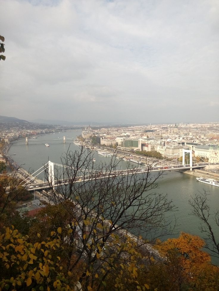 The view from the top of Gellért hill with the Elisabeth bridge.