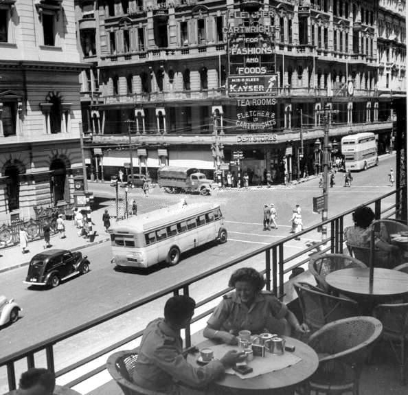 1943 and tea at Stuttafords, directly opposite is the old Standard Bank building with Fletcher and Cartwrights on the corner of Darling and Adderley streets.