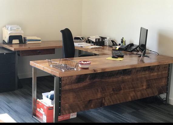 L Shaped Desk Desk With Modesty Panel Desk With Privacy Etsy L Shaped Desk Rustic Desk Reclaimed Wood Desk