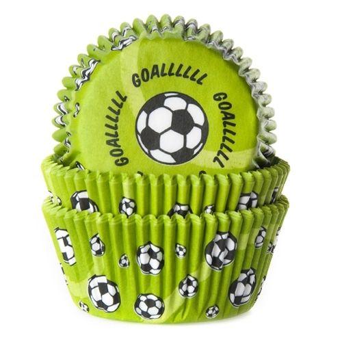 Cápsulas para cupcakes decoradas con motivos de futbol, para hacer tus #cupcakes a juego con tu fiesta temática de #futbol