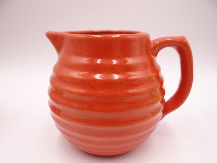 Early Period 1930s Bauer Pottery Ring Ware 20oz Red Orange Pitcher