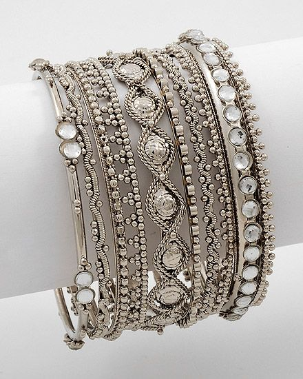 8 Piece Stackable Bracelet  Antique Silver Tone