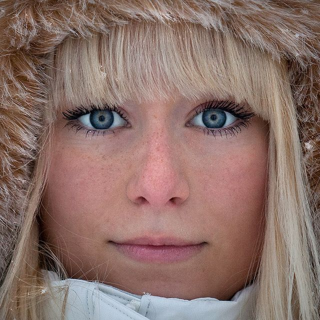 Swedish Girl With Fur Hat Color Swedish Blonde Swedish
