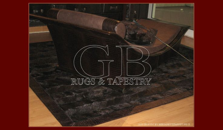 """Fur beaver carpet, made in italy; Price € 750,00 meter square with angular bands, edges """"crocodile style"""" leather, rectangular form. We made..."""
