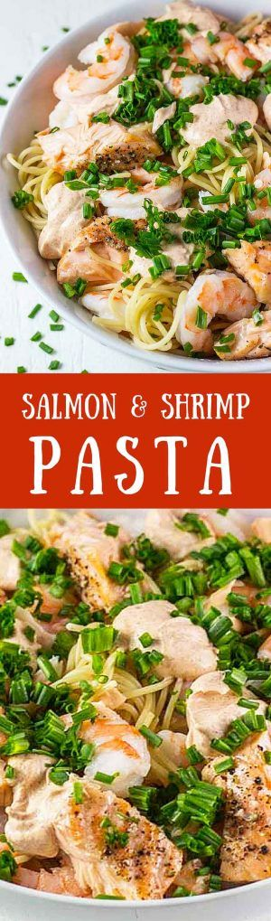 Salmon & Shrimp Pasta – This is our favorite easy and healthy pasta recipe. It takes less than 20 min to make and is full of delicious protein │ TheFitBlog.com