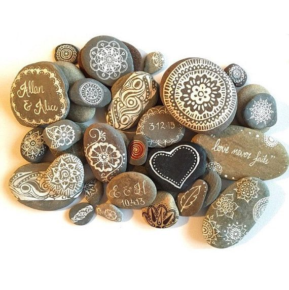 These are Hand painted stone magnets stone wedding favors by AmyRoseBudd on Etsy. I would love to try my hand at making them myself as a part of a wedding centerpiece our favors, though.