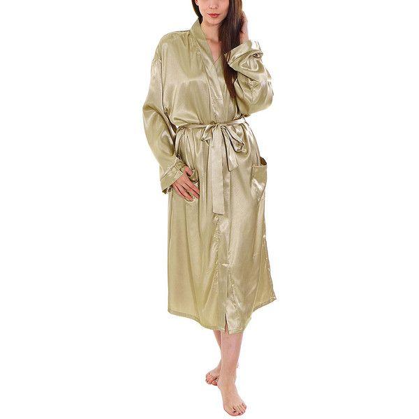 Simplicity Latte Satin Pocket Kimono Robe ($30) ❤ liked on Polyvore featuring intimates, robes, satin kimono, kimono dressing gown, dressing gown, bath robes and kimono bathrobe