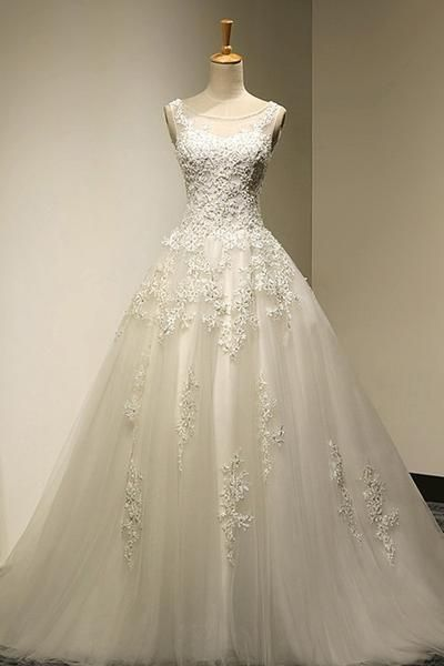Scoop Court Train Tulle Backless Lace-up Wedding Dress with Beading,Cheap Evening Dress On sale,