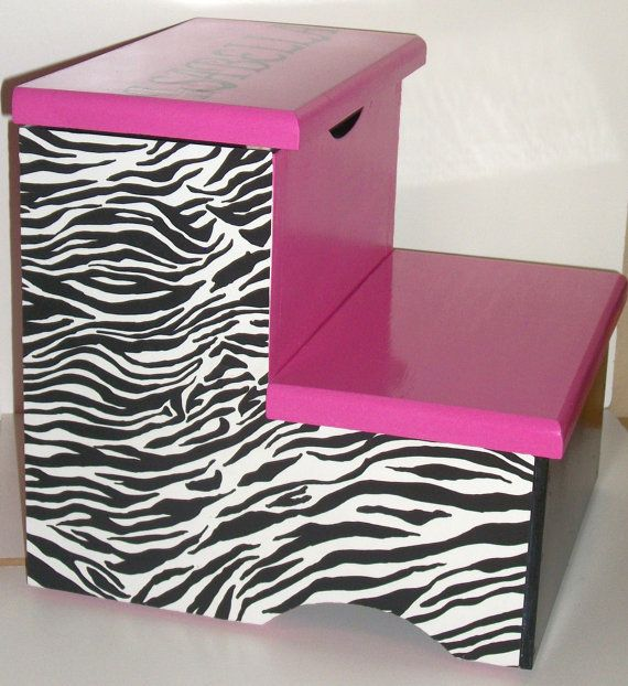Stepstool with Compartment Hot Pink Zebra Name by DREAMATHEME, $60.00