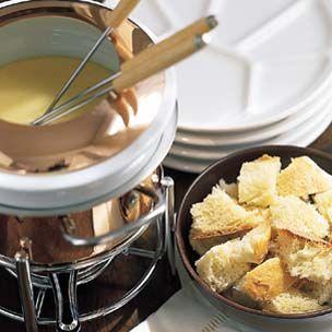 Classic Cheese Fondue - Uses Emmentaler & Gruyere Cheese, White Wine, Kirsch, Lemon Juice, Garlic, White Pepper, Nutmeg, Paprika, and Cornstarch