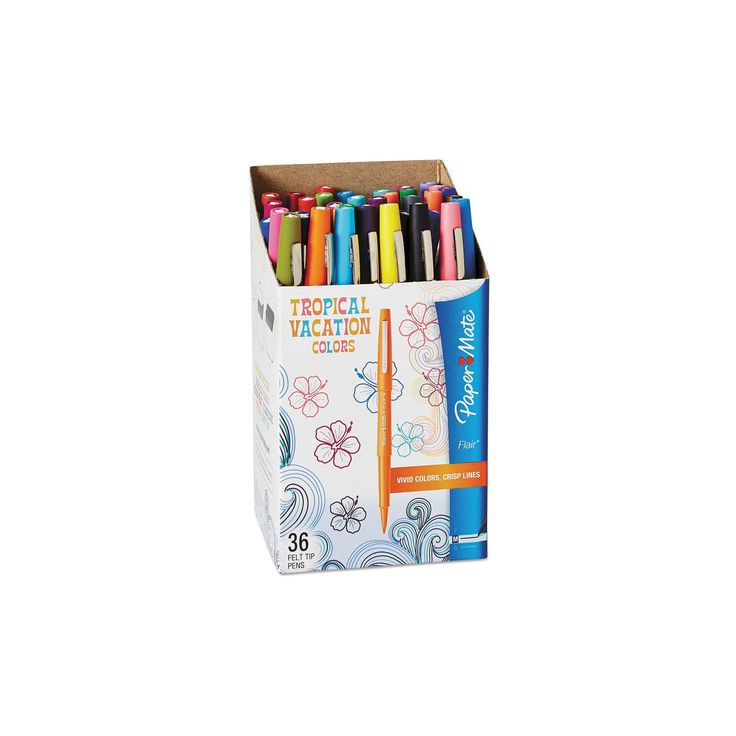 Paper Mate Point Guard Flair Bullet Point Stick Pen, .7mm, 36ct - Tropical Inks,