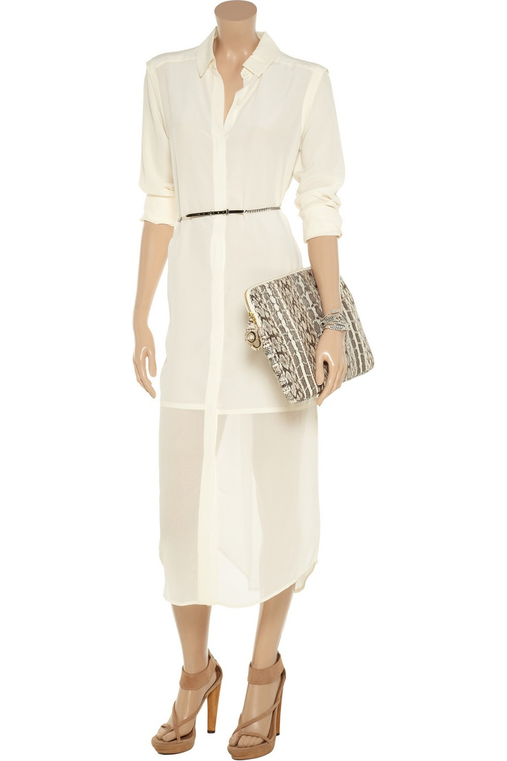 T by Alexander Wang Paneled washed silk-crepe shirt dress