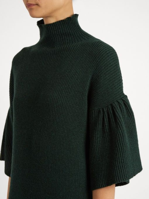 High-neck ribbed-knit cashmere dress | Ryan Roche