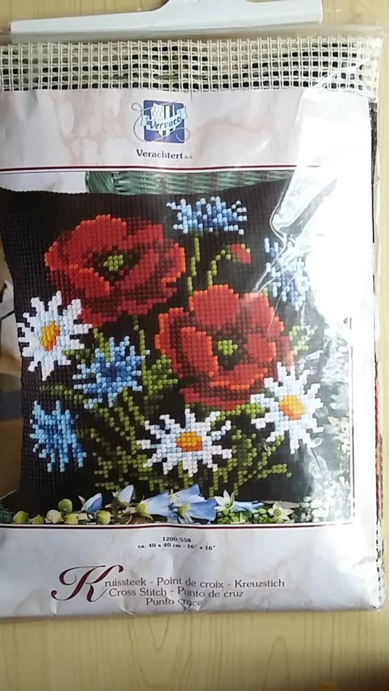 Brand New - Vervaco - Poppy Bouquet on Black Chunky Cross Stitch Cushion Kit