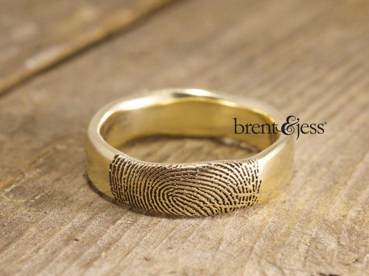 From www.brentjess.com - 14k Yellow Gold Organic Edge Wedding Band with Exterior Fingertip Print - Custom handmade fingerprint jewelry by Brent&Jess