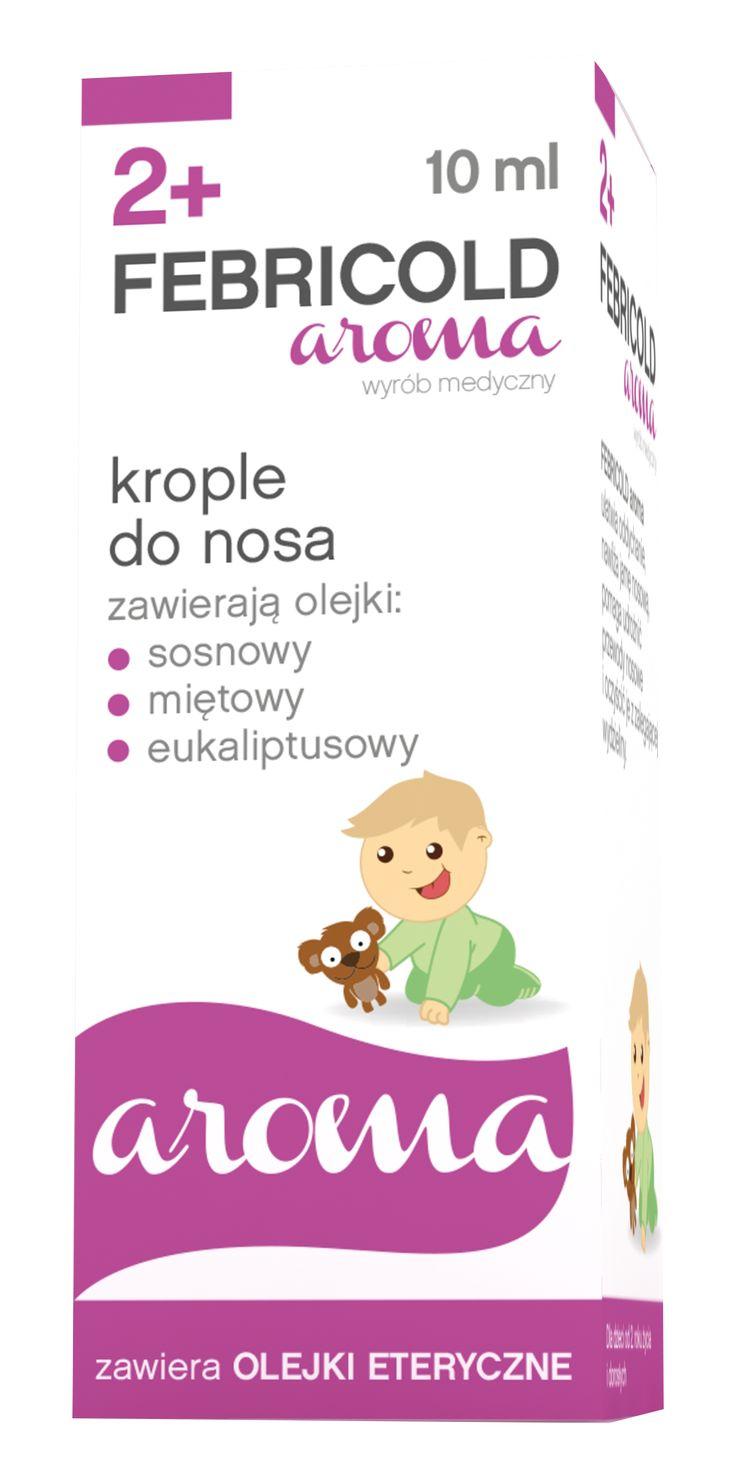 FEBRICOLD AROMA   Status: Wyrób medyczny leczniczy  Działanie: Nawilżające krople do nosa dla dzieci od 2 roku życia i dorosłych pomagają udrożnić przewody nosowe i oczyścić je z zalegającej wydzieliny. Ułatwiają swobodne oddychanie.  FEBRICOLD aroma zaleca się stosować w przypadku ograniczonej drożności nosa lub zatok oraz pomocniczo w przeziębieniu. Do stosowania także przez osoby z przesuszoną śluzówką nosa, przebywające w pomieszczeniach suchych i klimatyzowanych.  Zawiera olejki…
