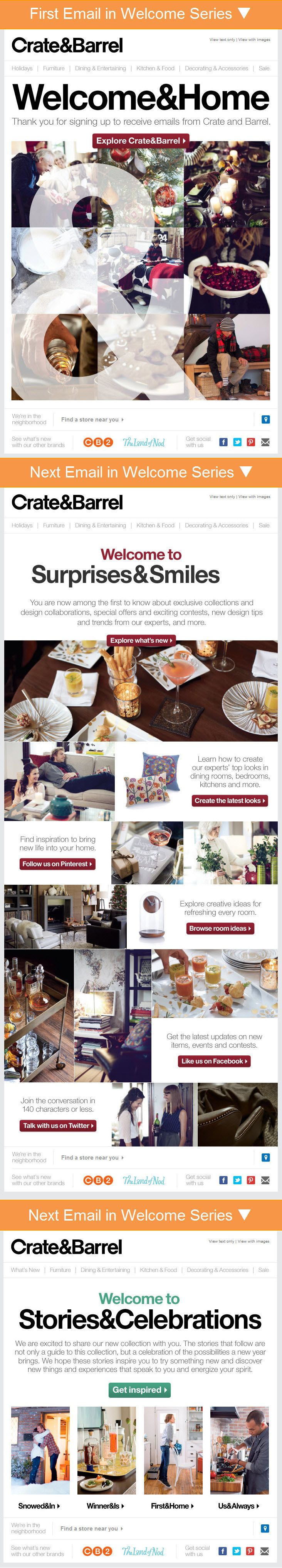 Crate & Barrel >> sent Q1 2013 >> Welcome & Home // Sneaks & Peeks // Stories & Celebrations >> Crate & Barrel's 3-email welcome series is interesting because they are a cohesive string of emails, with subject lines and headlines that follow the same syntactical pattern. They are clearly a set.  –Chad White, Principal of Marketing Research