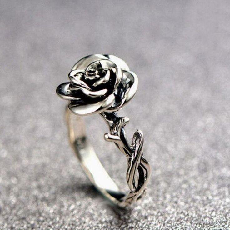 Sweet Flower Silver Rings Elegant Carved Rose Flower Rings