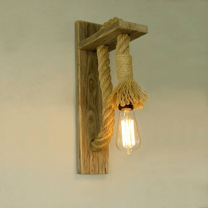 Upcycled Rope Wall Lamp By Tassostudio Wood Sconce Wall Lamp Design Rope Lamp