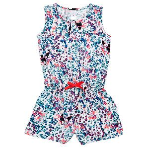 Our fun toucan short length playsuit will look and feel amazing on your little lady this season.Colourful all-over floral and toucan print.Elastic...