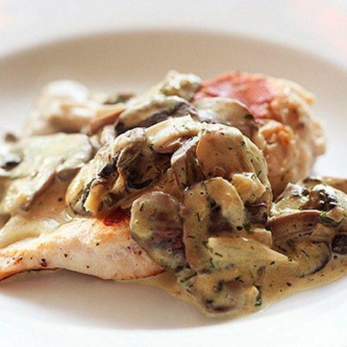 Κοτόπουλο με μανιτάρια αλα κρεμ
