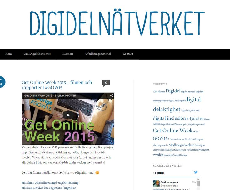 DigidelNätverket https://samverkansledningendigidel.wordpress.com . Här är ett inslag om https://samverkansledningendigidel.wordpress.com/2015/04/09/get-online-week-2015-filmen-och-rapporten-gow15/comment-page-1/ . #Digidel på Twitter: https://twitter.com/hashtag/digidel?src=hash . Mer om Go Online Week 2015, #GOW15: https://twitter.com/hashtag/GOW15?src=hash . Kjell Eriksson har gjort filmen: https://twitter.com/kjelleman . #Digidel egna twitterkonto: https://twitter.com/Digidel