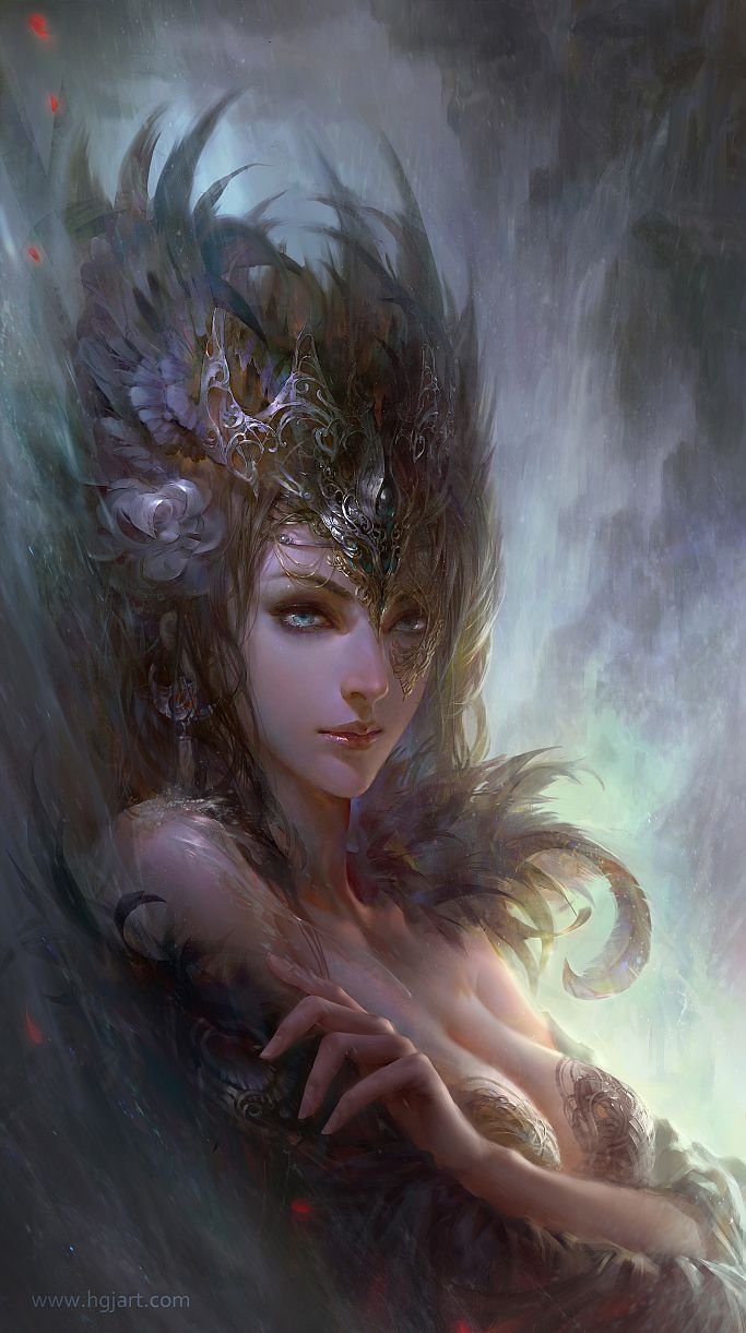 """Queen by *hgjart on deviantART :""""The queen of the kingdom of mysteries. It is said people who see her eyes will fall into an endless magical dream"""""""