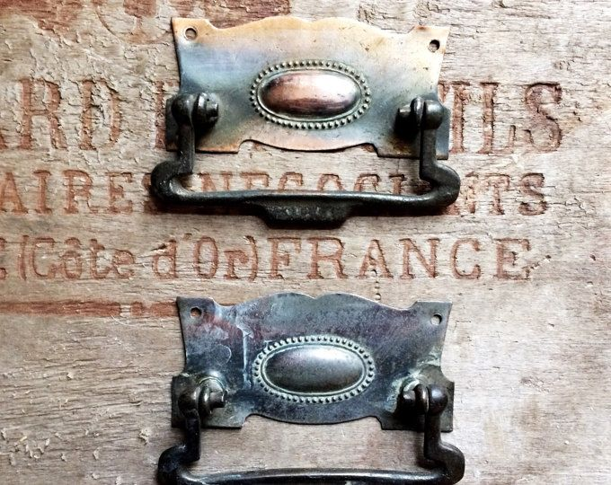 French Antique Metal Drawer Handles. Antique Drawer Pulls. French Antique Furniture Hardware. Perfect Patina. Set of 2