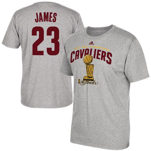 adidas LeBron James Cleveland Cavaliers Heather Gray 2016 NBA Finals Champions Name & Number T-Shirt - FansEdge.com