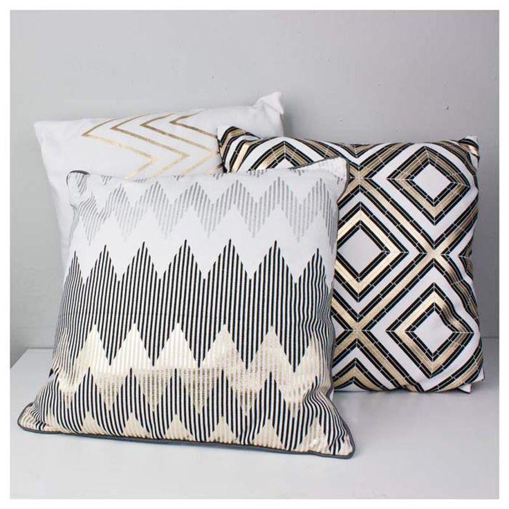 Gold Geometric Cushions - www.koop.co.nz