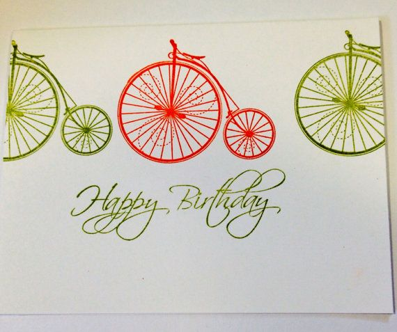 Orange and green bicycle themed Birthday card on Etsy, $4.57 CAD