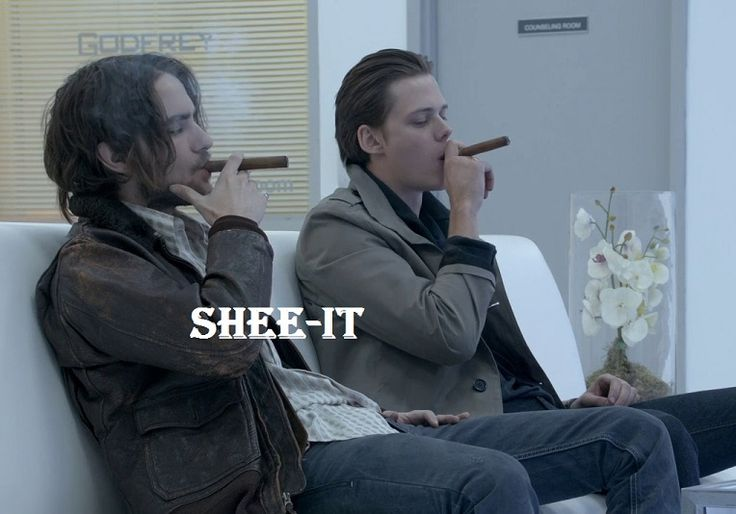 "The Peter And Roman Show. (Landon Liboiron as Peter and Bill Skarsgård as Roman) Saying ""shee-it"" is a Peter thing. OP: ""These guys. Go watch Hemlock Grove. Thank me later. And yes, he's another Skarsgard."""