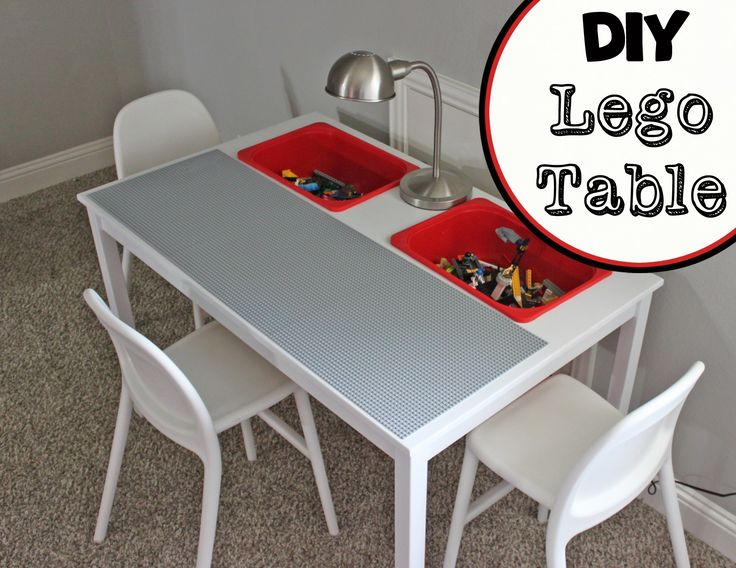 DIY Lego Table!  All the info to make this table from an IKEA dining table…