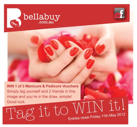 Tag it to WIN it, Facebook Comp.  Win 1 of 3 Manicure & Pedicure Vouchers