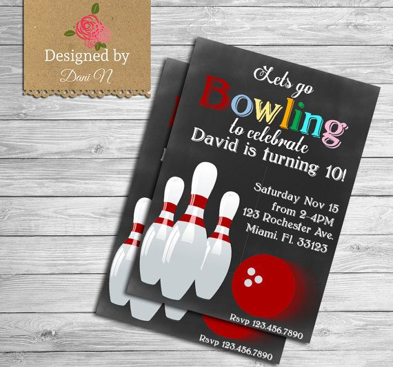 Bowling Birthday Invitation Bowling Party Invite
