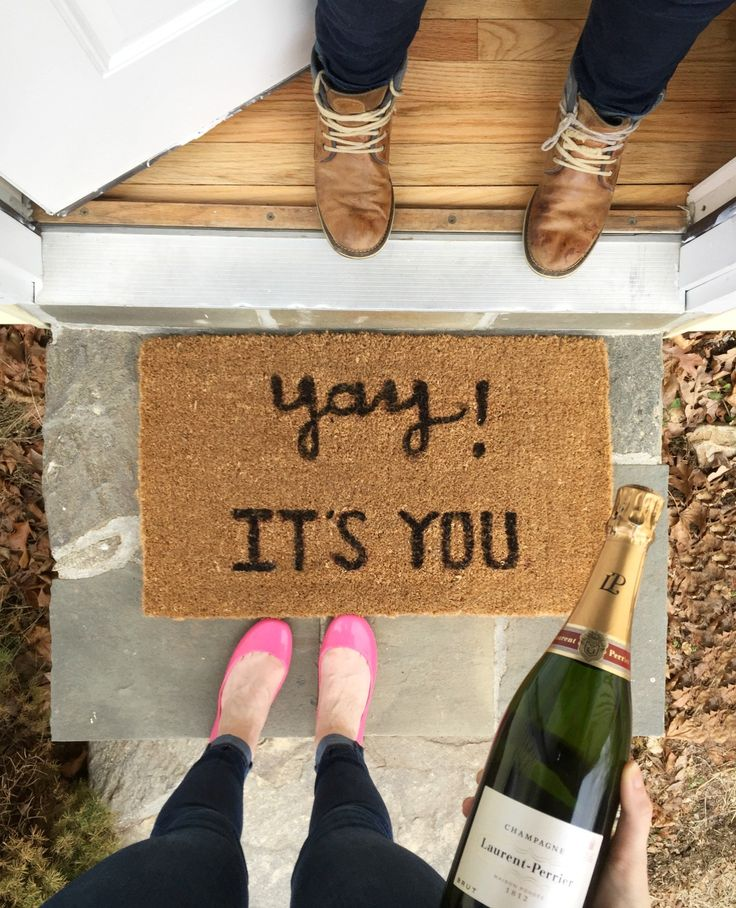 buy or diy doormat | DIY welcome mat  Take a picture every time someone comes over for the first time