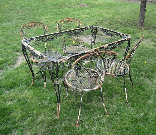 Vintage 5 Piece Wrought Iron Patio Lawn Furniture Set Roses Gl Top Tables And Sets