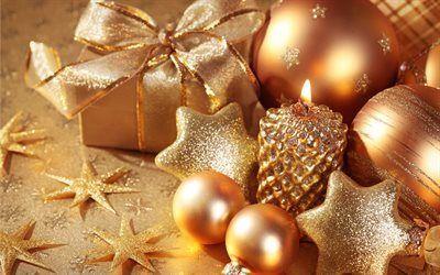 壁紙をダウンロードする 休日, クリスマスの飾り, ボール, クリスマス