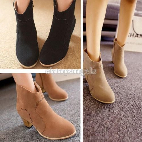 Womens-Ladies-Winter-Riding-Ankle-Cowboy-Boots-Mid-heel-Rider-Fashion-Shoes