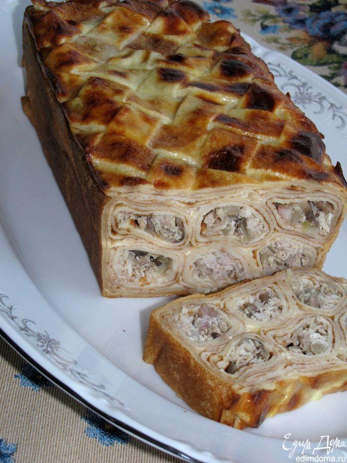 Блинный пирог с мясом и грибами | Кулинарные рецепты от «Едим дома!»