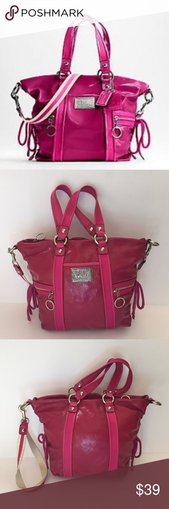 Coach Poppy Crossbody Bag In good USED condition with signs of wear on the leather inside also has signs of wear!! But a beautiful style CHECK PICS!! 016787901 signs of wear on crossbody strap and on handles. Missing coach tag Coach Bags Crossbody Bags